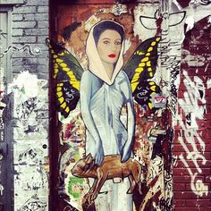 mehreenkasana: Ex-Prime Minister of Pakistan Benazir Bhutto with butterfly wings holding a piggy bank. Street art seen in Williamsburg, Brooklyn. (via) I like the cheeky juxtaposition. Stencil Graffiti, Graffiti Artwork, Street Art Graffiti, Best Street Art, 3d Street Art, Art Intervention, Space Artwork, Outdoor Art, Community Art