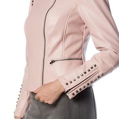 G by Giuliana Ultra Luxe Studded Moto Jacket - Pink