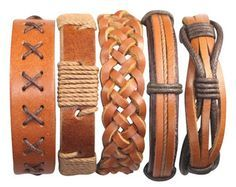5 Piece Handmade Leather Bracelet Set Men's by BraceletStreetUSA
