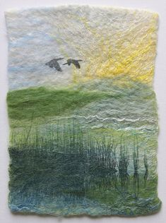 My work uses wool and silk and is inspired by the Yorkshire landscapes Wet Felting Projects, Needle Felting Tutorials, Felt Pictures, Fabric Pictures, Textile Fiber Art, Textile Artists, Landscape Quilts, Landscape Art, Felt Wall Hanging