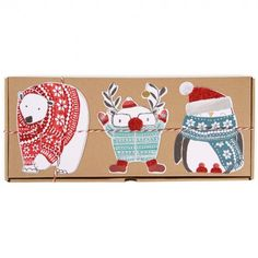 Box of 15 animals in jumpers Christmas cards