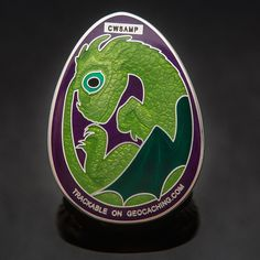 Satin Silver Purple/Green 3D Dragon Egg Geocoin - Geocaching - 41 MADE
