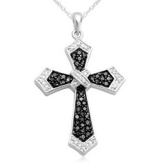 10k White Gold Black and White Diamond Cross Pendant
