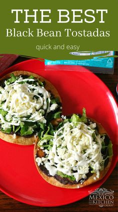 These creamy black bean tostadas are the perfect pick me up midweek dinner or lunch. The creaminess of the flavorful beans pair nicely with the crunchy golden corn tortillas, top them with crumbled queso fresco, lettuce, and cream. Delicious! So simple, healthy and flavourful! #tostadas #healthydinnerrecipes #blackbeantostadas #mexican #meatlessmeal