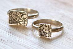 Mehndi Lotus flower stacking rings