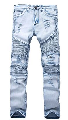 663ca86c2a18 Myncoo Men s Slim Distressed Ripped Jeans Light Blue 27 at Amazon Men s  Clothing store