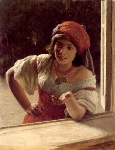 oil painting of a gypsy woman from the 1880's