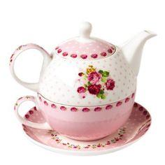 Jusalpha Bone China Teapot for One, Teapot and Saucer Set, Pink Roses (Teapot Set 01)