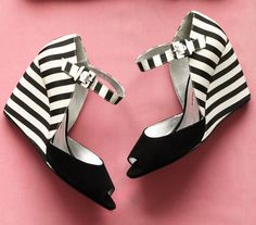 Black + White stripe wedges