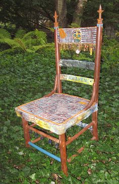 Fabric Covered Altered Wooden Chair. $235.00, via Etsy.