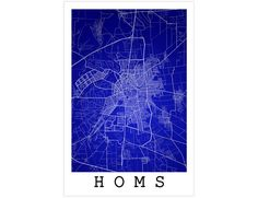 Homs Street Map Homs Syria Modern Art Print
