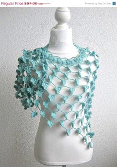 ON SALE Marino crochet Shawl, Crochet Triangle Shawl, Crochet Neck warmer, Wedding Shawl,  Shamrock green,Tiffany Blue, Triangle,Ultramarin. $72.75, via Etsy.