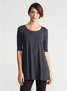 Eileen Fisher  Plus Size Scoop Neck Long Tunic with Elbow Sleeves in Viscose Jersey