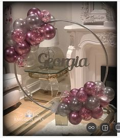 Birthday hoop and matching confetti bubbles 💕🎈 – Balloon Decorations 🎈 - Dekoration Ideen 50th Birthday Party, Birthday Party Decorations, Baby Shower Decorations, 50th Birthday Centerpieces, Balloon Birthday, Balloon Arch, Balloon Garland, Balloon Ideas, Bubble Balloons