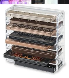 This Premium Acrylic Standard Size Palette Organizer Comes With 8 Individual Spaces For Storing Standard Sized Palettes. This Organizer Is Designed With Removable Dividers Allowing You Even More Organ