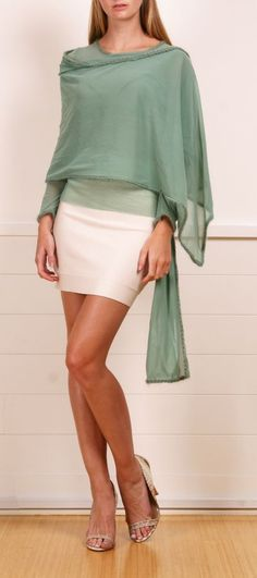 greyed jade shawl over white skirt