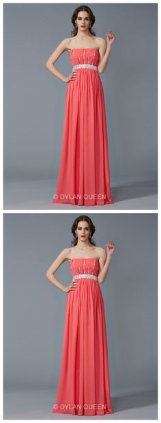 Elegant A-Line/Princess Beading Strapless Sleeveless Chiffon Floor-Length evening Dress