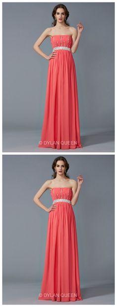 Elegant A-Line/Princess Beading Strapless Sleeveless Chiffon Floor-Length evening Dress