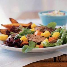 Grilled Jamaican Pork Tenderloin Salad   MyRecipes.com #myplate #protein #fruit #vegetable