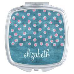 Watercolor Messy Polka Dots - blue and pink