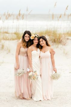 Beach bridesmaids; http://www.stylemepretty.com/south-carolina-weddings/hilton-head-island/2015/04/15/boho-beach-wedding-on-hilton-head-island/ | Photography: Riverland Studios - http://riverlandstudios.com/