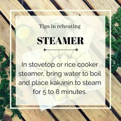 In stovetop or rice cooker steamer, Bring water to boil and place Kakanin to steam  for 5 to 8 minutes.  #eatgoodfeelgood #kakanin Rice Cooker Steamer, Rice Cakes, Filipino, Feel Good, Bring It On, Water, Places, Tips, Instagram