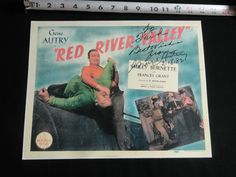 "GENE AUTRY AUTOGRAPH REPRINT MOVIE POSTER ""RED RIVER VALLEY"" 14"" X 11""  REPUPLIC"