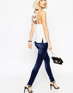 Image 1 of ASOS High Neck Cami Top With Strappy Back Detail