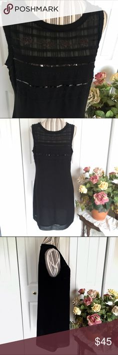 BANANA REPUBLIC Little Black Sequined Minidress This Banana Republic tank minidress is black and absolutely gorgeous with its sequin embellished bodice. Hidden side zip.  Sheer from the bodice up and fully lined from the bodice down, this LBD is sexy and comfortable, perfect for a night out😍  Size 10, measures approximately 18 inches pit to pit and 34 inches shoulder to hem.   Like new, no snags, stains, holes, rips. Banana Republic Dresses Mini