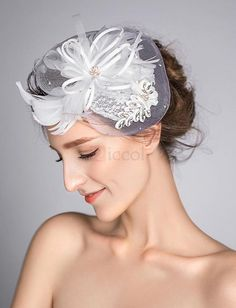 ❀ Heart Shape Mesh Bridal Hat With Feathers | Riccol ❤