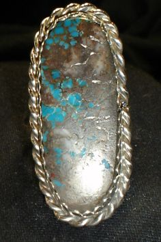 Navajo Sterling Silver Blue Turquoise Ring Sz 10 5 Native American Dead Pawn