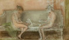 Flesh Colour and Silver: The Card Players by James Abbott McNeill Whistler Hunterian Art Gallery, University of Glasgow Grey And Gold, Blue And Silver, Fawn Colour, Color, Leeds Art Gallery, James Abbott Mcneill Whistler, Walker Art, Manet, Adam And Eve