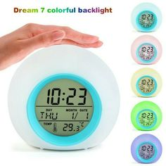 Creative 7 colorful backlight kids Digital Alarm Clock LED spherical night light alarm clock with Temperature Calendar. Send out seven kinds of bright and warm colors with circular changing. 1 x Alarm Clock (without battery). Light Alarm Clock, Alarm Clocks, Bedside Clock, Clock For Kids, Kids Clocks, Time And Weather, Color Changing Led, Digital Alarm Clock, Organizer