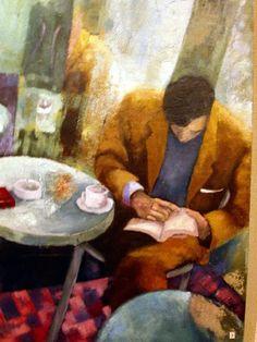 A media mañana, descanso: café y un poco de lectura (ilustración de Bego Tojo)