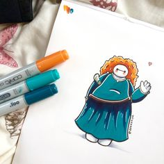Baymax drawn as Merida. So cute!