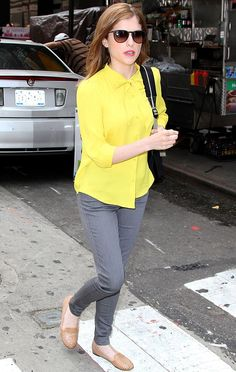 #AnnaKendrick out in Yellow shirt and gray Denim  - DesignerzCentral