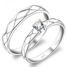 Sterling Silver Inscriptions Korean Promise Rings for Couples