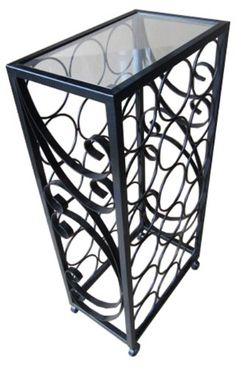 Wine Racks - PTC Home  Garden 18Bottle Wine Rack with Square Glass Table Top ** Want additional info? Click on the image.