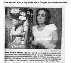 this woman won a toy yoda, not a toyota for a radio contest, funny, humor, haha
