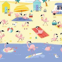 Illustration for OleHop baby blankets! #flamingoes #illustration #kids #children #blanket