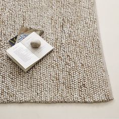 Mini Pebble Wool Jute Rug- Need to see this color in person to make sure it doesn't meld with the color of the couch