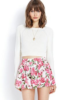 Rose Print Skort | FOREVER21 - 2075592081 #F21Crush