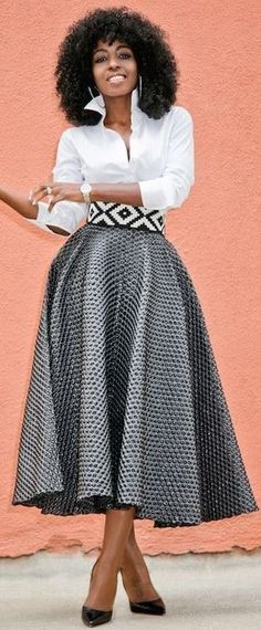 Button Down + Textured Tea Length Skirt (Style Pantry) African Attire, African Dress, Mode Apostolic, Apostolic Fashion, Long Skirt Fashion, Long Skirt Outfits, Modest Fashion, Tea Length Skirt, Style Pantry