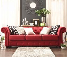 This Red #Chesterfield Sofa Would Be Fabulous For The Holidays Season! I  Would Love