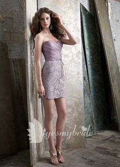 taupe organza and lace strapless sweetheart sheath short bridesmaid dress