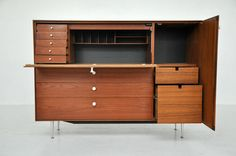 George Nelson - Thin Edge Drop Front Secretary | From a unique collection of antique and modern commodes and chests of drawers at http://www.1stdibs.com/furniture/storage-case-pieces/commodes-chests-of-drawers/