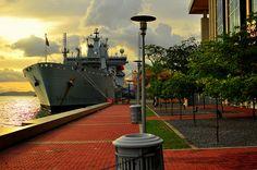 Navy Ship at the waterfront.