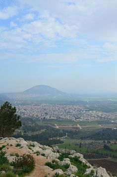 A view from Mount Precipice towards Mount Tabor. Mount Precipice is believed to be the cliff from which the angry mob wanted to throw Jesus, after his sermon at the synagogue in Nazareth
