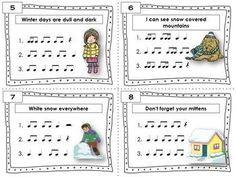 WINTER Rhythm Activities  |  Task Cards  Included in this product is... ♫ 24 Task Cards  ♫ Student Record Sheet  ♫ Answer Key  CLICK through to see the set or save for later!    #musiceducation    #musiced    #musedchat