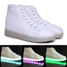 Stylish Women's Led Shoes With Colorful Light and Lace-Up Design